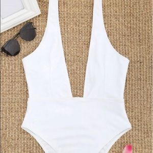 Plunging One Piece Bathing Suit
